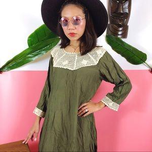 Vtg 70s Crochet Army Green Boho Maxi Dress M